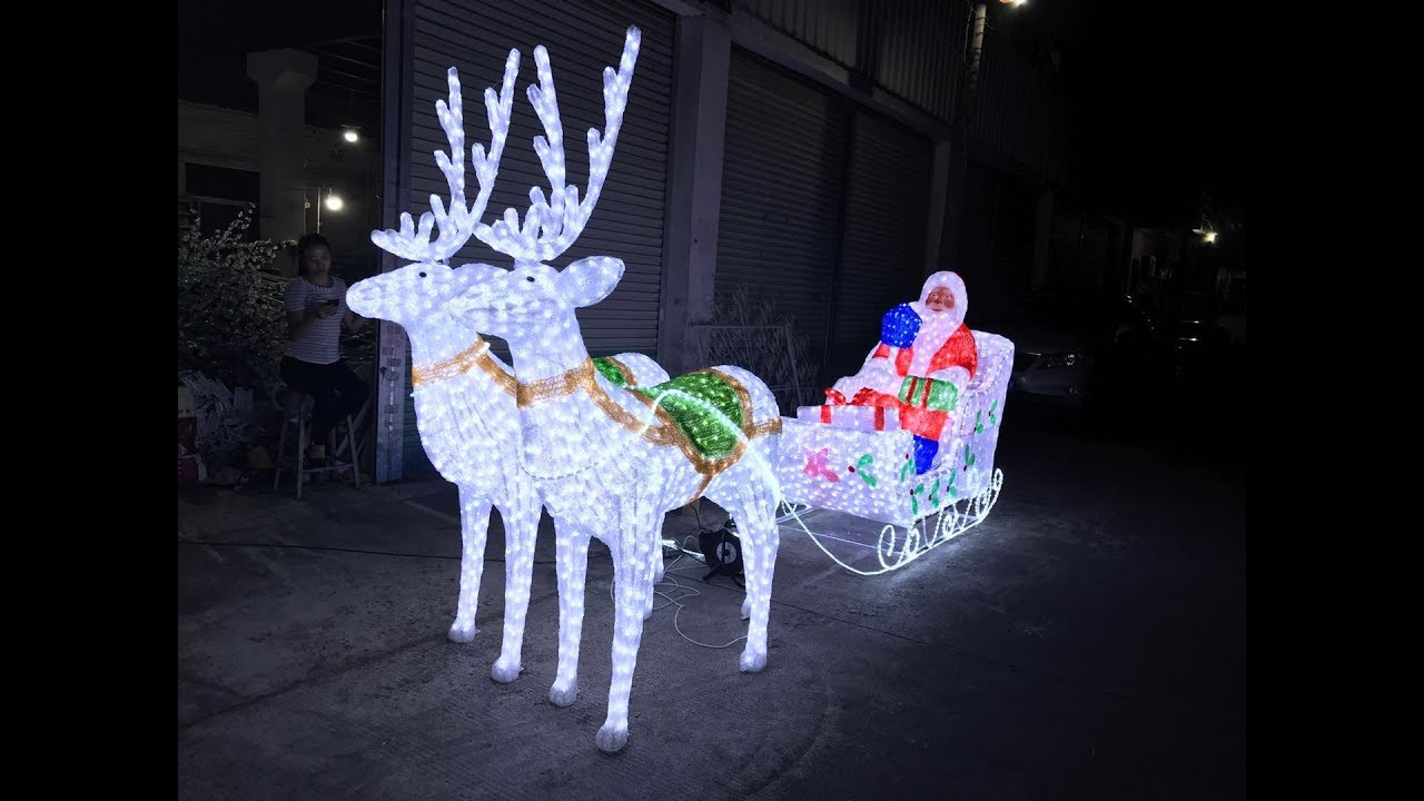 Led Lighted Reindeer Sleigh With