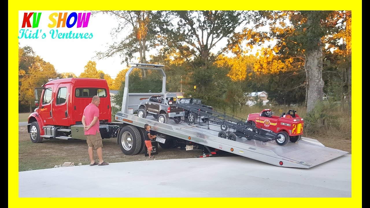 Loading And Unloading His Power Wheels Ride On Dodge Ram