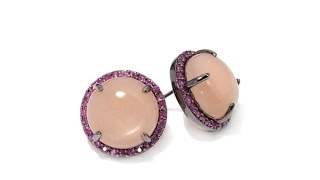 Rarities Peach Sunstone and Ruby Stud Earrings