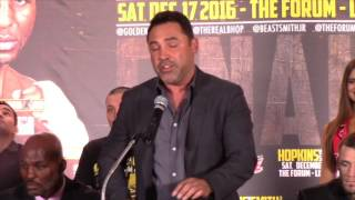 OSCAR DE LA HOYA ON EXACTLY WHAT BERNARD HOPKINS MEANS TO THE SPORT / HOPKINS v SMITH JR