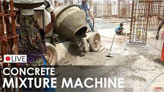 Concrete Mixer Machine - at construction site - How to made concrete - Preparation of concrete mix