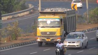 Ashok Leyland and Bharat Benz multi axle tippers near Maduranthakam