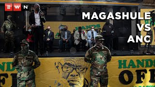 Day one of the Ace Magashule-ANC matter saw three applications seeking to intervene the matter being dismissed by the Gauteng South High Court on 24 June 2021. A handful of supporters gathered outside the court in support of Magashule.  #AceMagashule #MagashuleVSANC #ANC #StepAside