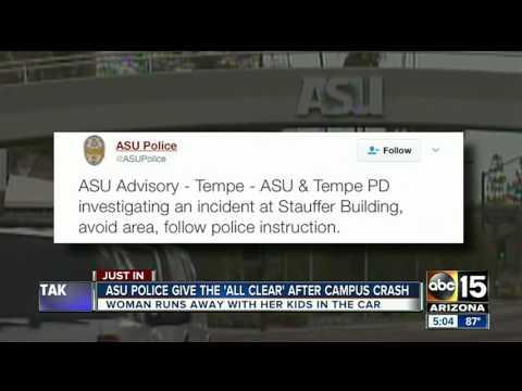 Woman crashes on ASU campus, flees scene
