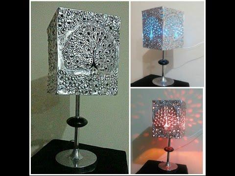Diy Aluminum foil art. Homemade lamp. Creative art and antique style