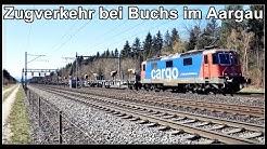 Viel Zugverkehr bei Buchs im Kanton Aargau, Schweiz 2020
