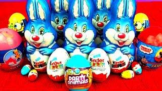 surprise eggs kinder surprise easter bunny thomas friends spongebob minnie mouse party animals toy