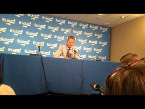 Warriors coach Steve Kerr adresses the media after Golden State's victory over Portland