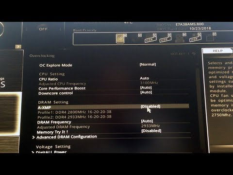 A-XMP Profile 1, 2 Enable for MSI Motherboard - YouTube