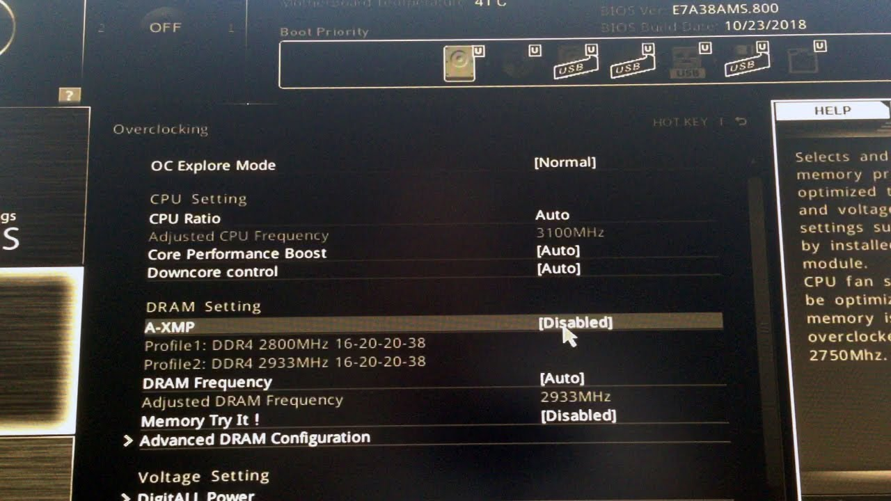A-XMP Profile 1, 2 Enable for MSI Motherboard
