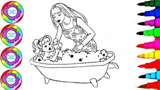 Rainbow Learning Colors Coloring Barbie and Chelsea in the Sparkle  BathTub Coloring Pages