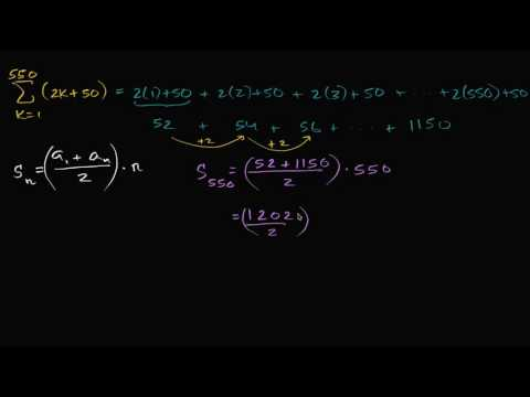 Worked example: arithmetic series (sigma notation) | High School Math | Khan Academy