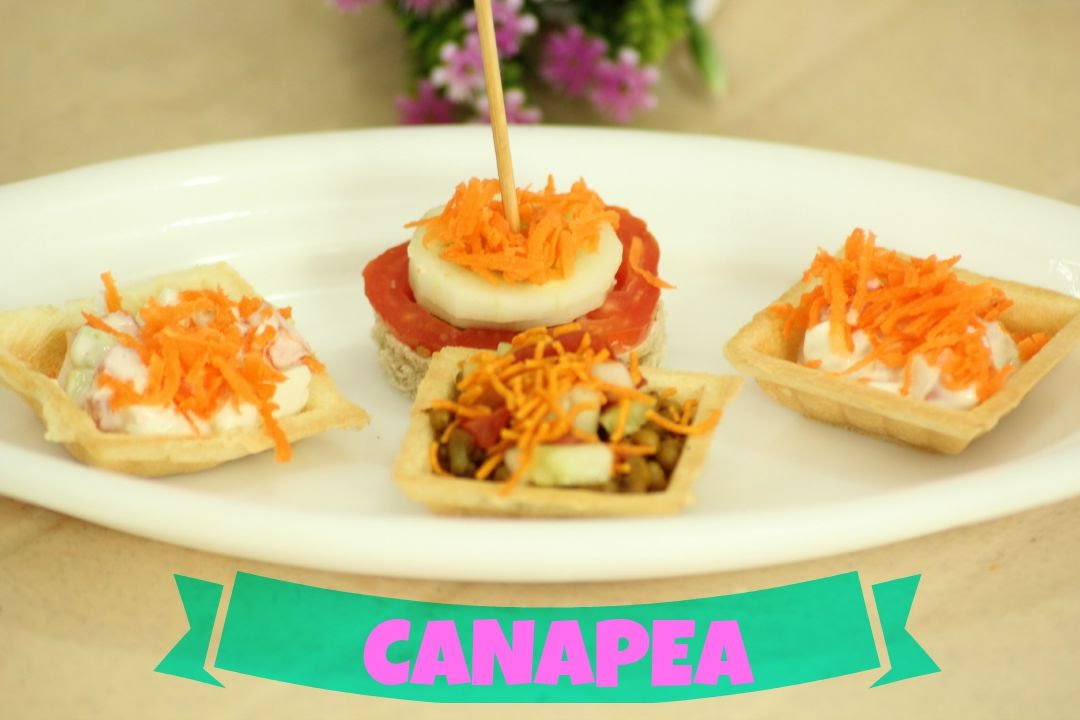 Canap 2 mins appetizer eggless veg youtube for Appetizer canape