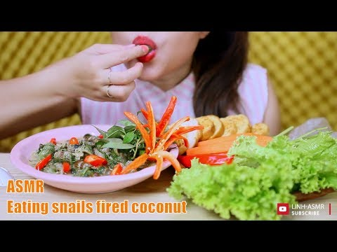 ASMR Eating snails fired coconut,eating sound,mukbang | LINH-ASMR