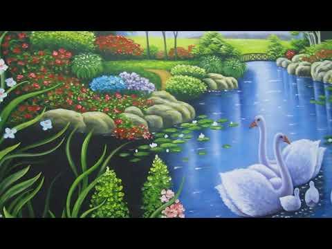 Tranh vẽ phong cảnh gia đình thiên nga - AmiA.com.vn