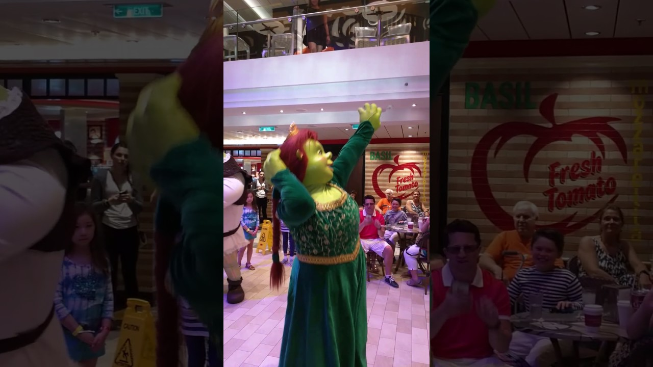 Shrek And Fiona Dance Party Anthem Of The Seas Youtube