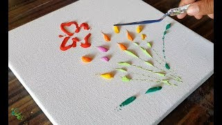 Colorful Flowers & Butterflies / Abstract Painting Demonstration / Easy / Daily Art Therapy/Day #017 thumbnail