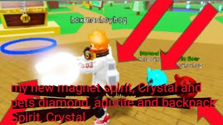 Roblox magnet simulator part 5:my new magnet spirit,Crystal and Crystal, spirit backpack and pets