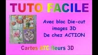 TUTO facile cartes ATC fleurs 3D avec les blocs de chez Action - Français