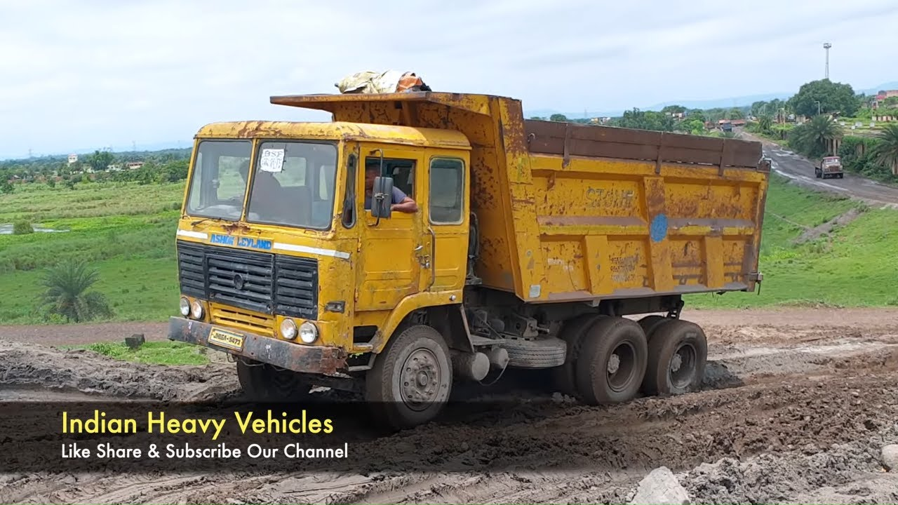 Indian Truck Offroad Driving   Tata 2518 Vs Ashok Leyland 2518 Tipper In the Same Place Part - 2.