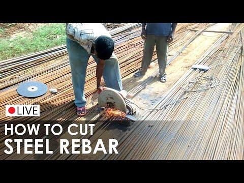 Cutting Steel Rebar - Steel Reinforcement bar cutter - Rebar cutting machine - On site Construction