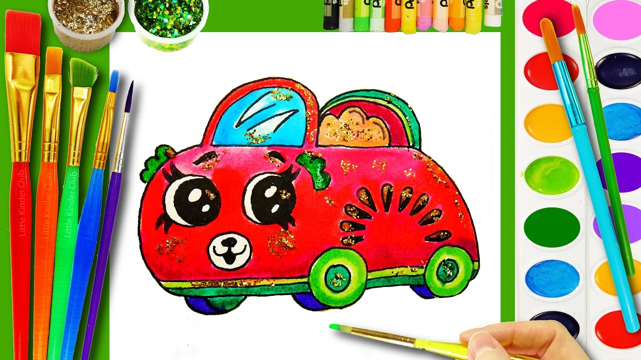 Shopkins cutie cars coloring page to learn to draw and color fruit with watercolor for kids