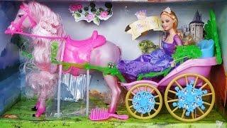 Карета з двигающейся конем і лялька принцеса / doll princess carriage and horse