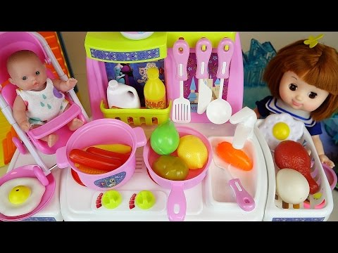 Thumbnail: Baby Doll and Frozen Kitchen toys play doh cooking food