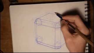 two point perspective cube with round corners. fillets .wmv