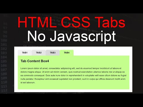How To Create Tabs Menu Using HTML And CSS | HTML Tabs No Javascript | Css3 Tabs Menu