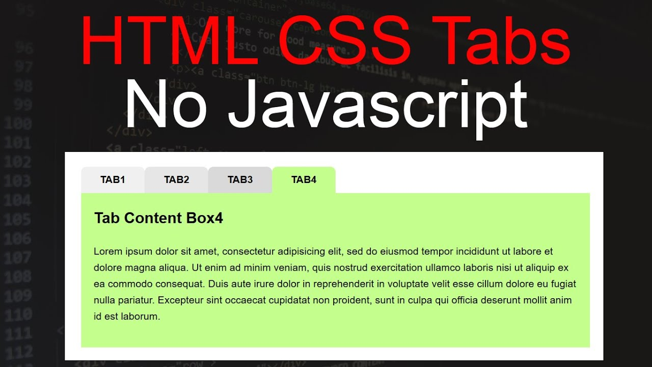 how to create tab in html