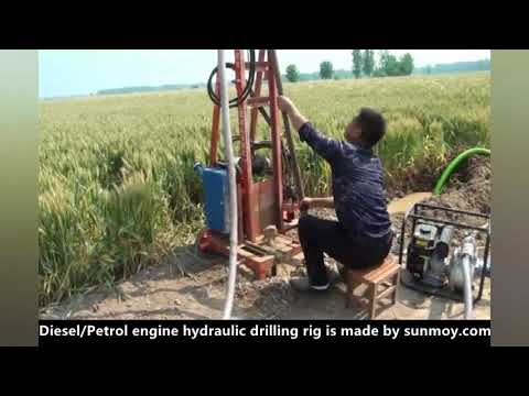 Diesel Engine Hydraulic Water Well Drilling Rig, Portable Low Cost Drilling Equipment.