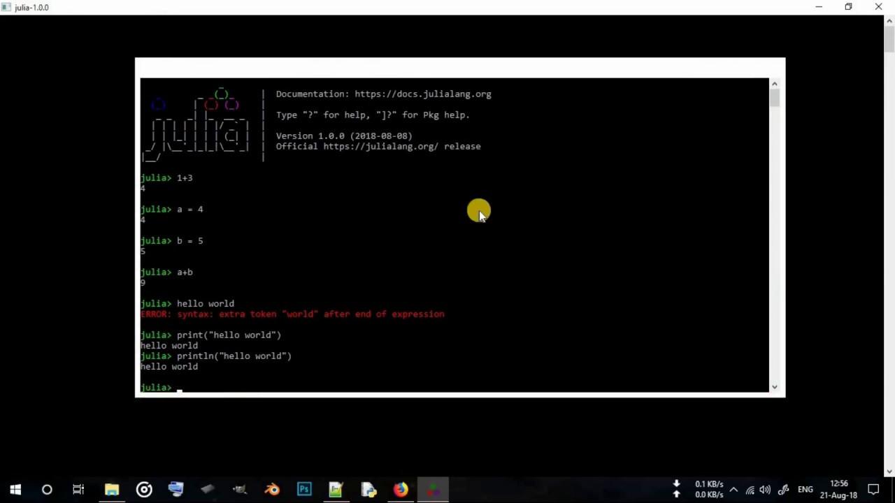Julia Programming Language Setup on Windows 10 | Hello World