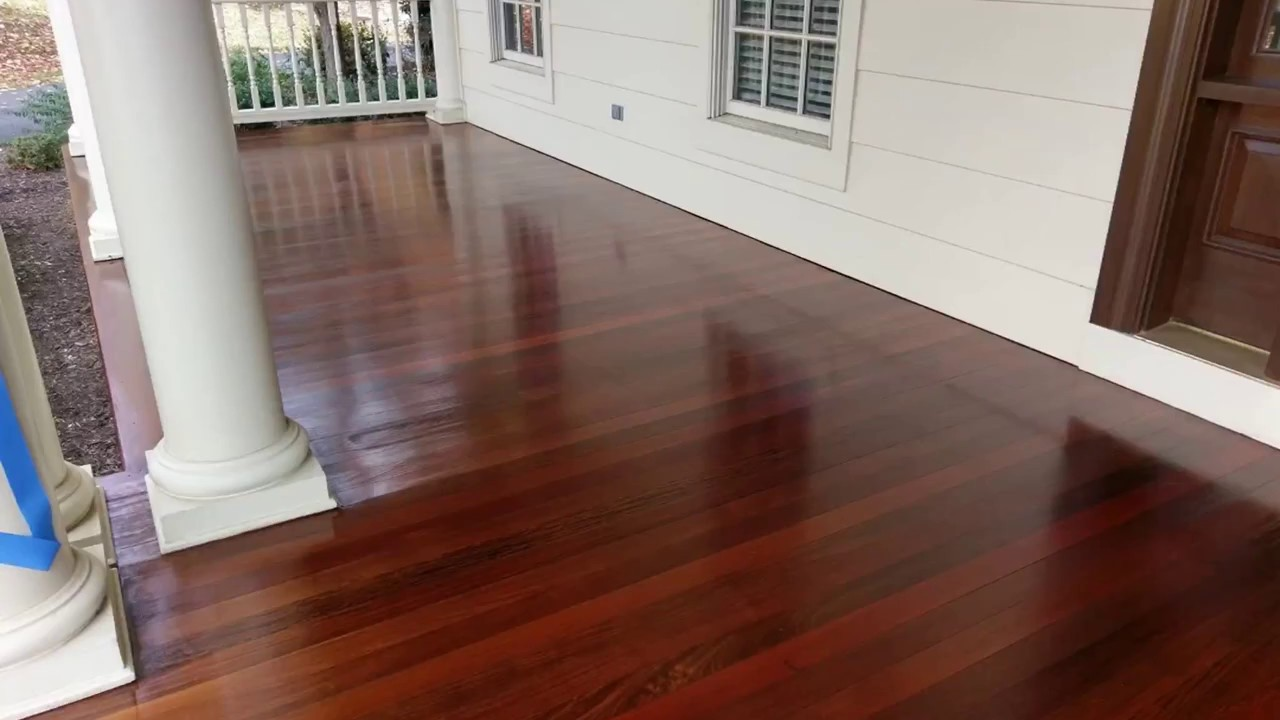 Mahogany floor before staining and final product