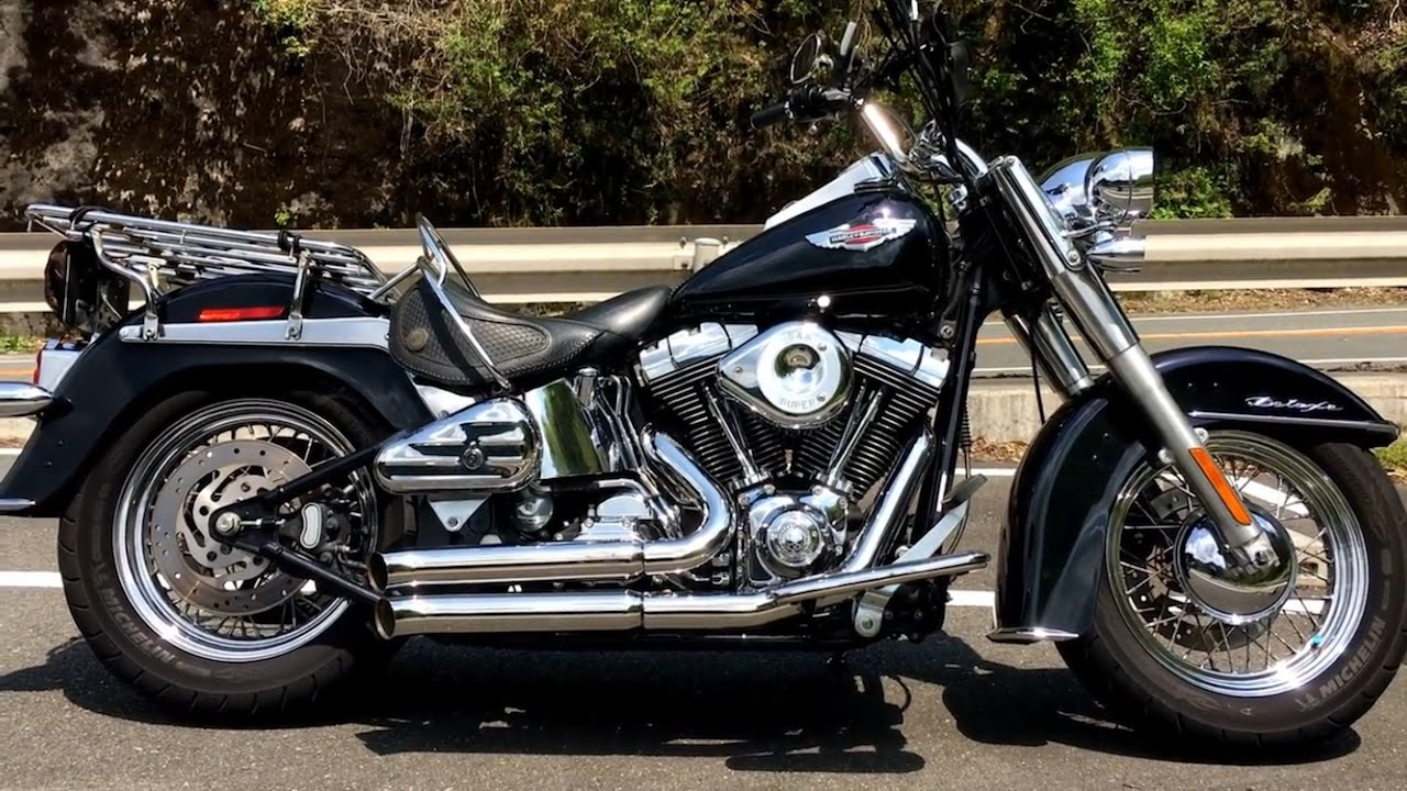 harley davidson softail deluxe bassani firesweep exhaust youtube. Black Bedroom Furniture Sets. Home Design Ideas