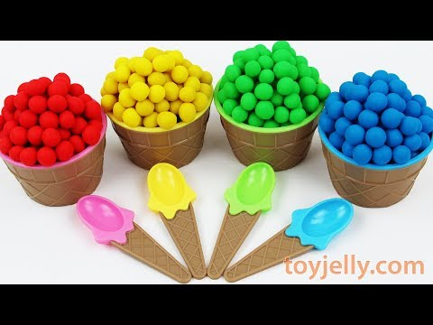 Play Doh Dippin Dots Ice Cream Cup Surprise Kinder Joy Chocolate Eggs Learn Colors with Baby Toys