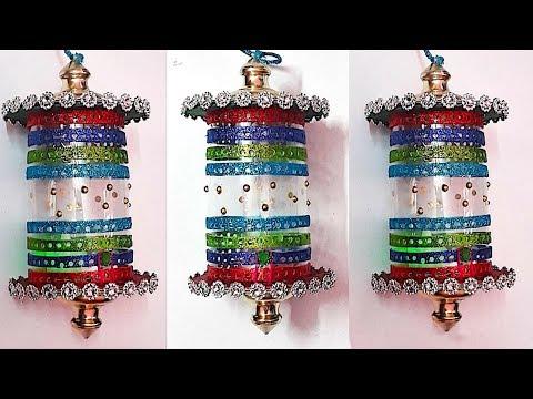 DIY-Lantern/Akash kandil from plastic bottle & glitter sheet (part-2)|DIY Christmas Decorations Idea