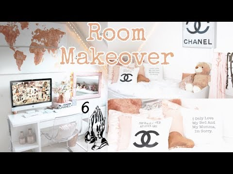 redecorating-my-room-|-diy,-chanel,-drake,-pillows,-art,-rose-gold-|-demiana-acis