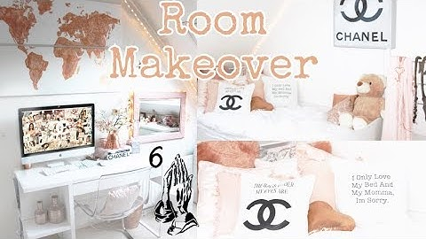 Redecorating My Room | DIY, Chanel, Drake, Pillows, Art, Rose Gold | Demiana Acis