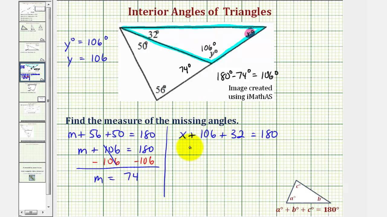 Ex 2 Find The Measure Of An Interior Angle Of A Triangle Youtube