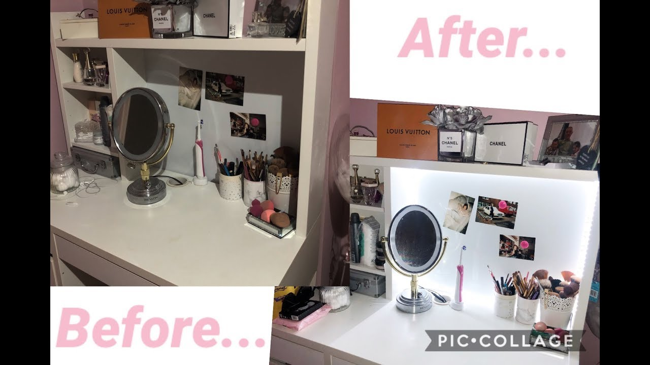 DIY VANITY MIRROR USING LED LIGHTS// Only £10!! - YouTube