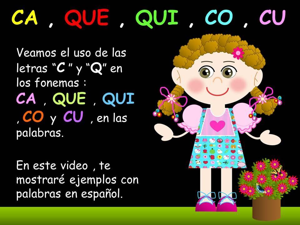 Ca Que Qui Co Y Cu En Las Palabras Videos Para Niños Idioma Español