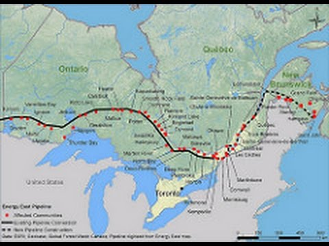 Flying the Pipe-the proposed route of the Energy East Pipeline project