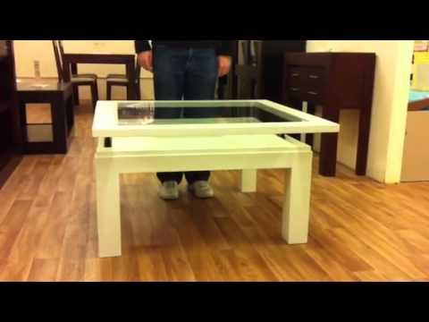 Comedores 56 mesa de centro elevable cuadrada con tapa for Comedores redondos de madera