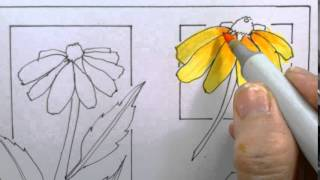 Copic Coloring Flower Tutorial