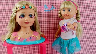 Baby Born Sister Styling Head - Baby Doll hair style and Make Up Pretend Play