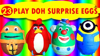 23 Play Doh Surprise Eggs Toys! Shopkins, Angry Birds, Ninja Turtles | Play Doh Videos For Kids