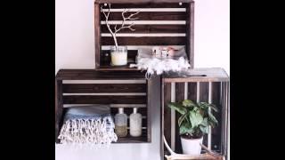 DIY Wood Crate Hanging Shelves