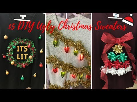 $5 EASY DIY UGLY CHRISTMAS SWEATERS (6 STYLES)