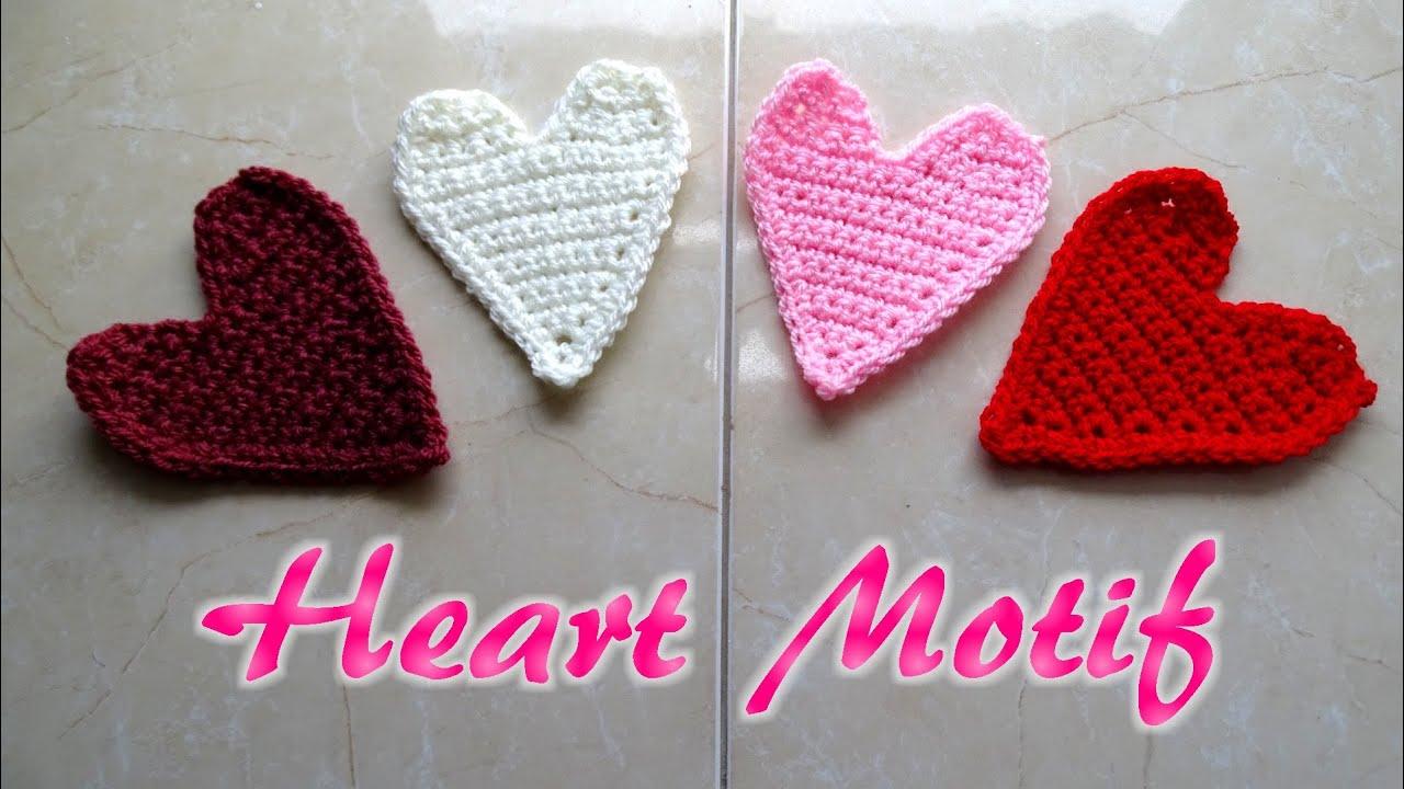 Crochet heart motif applique valentine crochet tutorial youtube